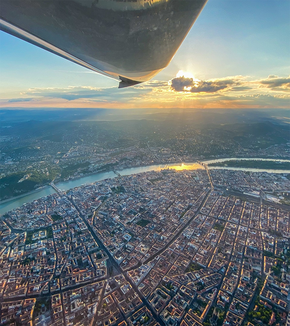 Flight hour building in the heart of Europe, Budapest